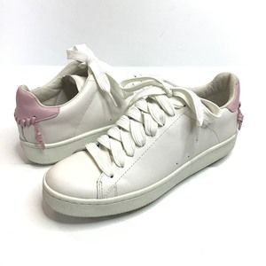Coach lo top white/petal leather sneakers Q8096